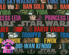 140123591- Star Wars Character Stripe Fabric By Yard Yoda Darth Vader Han Solo