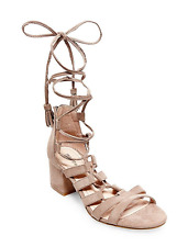NEW MADDEN GIRL LOVERRR TAUPE  STRAPPY SANDALS WOMENS 8.5 ANKLE LACE UP STRAPPY