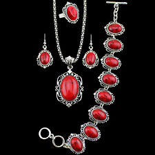 Retro 4 In 1 Flower Red Turquoise Necklace Bracelet Earrings Ring Jewelry Sets