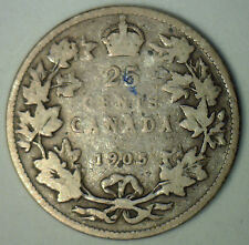 1905 Silver Canadian Twenty Five Cent Quarter Coin Canada One Cent G