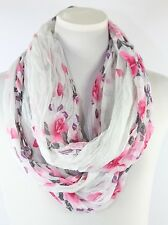 B22 Eternity Flower White Pink Red Infinity Scarf Crinkle Pattern Wide & Long