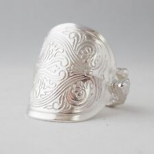 Stunning Handmade Antique Ornate Solid Sterling Silver Spoon Ring date 1936