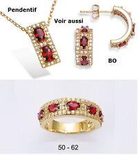 Dolly-Bijoux Alliance T62 Sertie Rubis et Pavé Diamant Cz Plaqué Or 18K 5 Micron