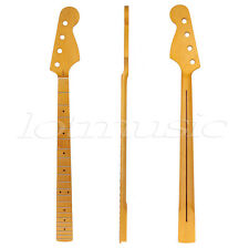Yellow 21 Fret Neck Maple For Electric Bass Guitar Parts Replacement