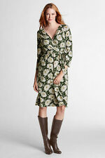 NWT Lands End Womens Pet 3/4 Sleeve Knee L Floral Jersey V-Neck Dress SP 6-8 $74