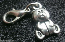 10 Silver Tone Cute Teddy Bear Clip on Charms for Bracelets Jewellery Wholesale