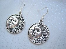 SUN and Crescent MOON LARGE ROUND DISC SP Drop Earrings CELESTIAL Astral
