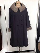1950s 60s Fur Mink Trimmed Coat