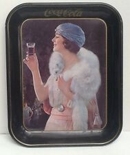 Coca-Cola 1970's Tin Tray Reproduction Of 1925 Flapper With Fur Excellent