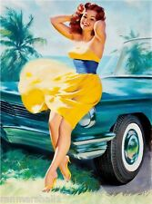 1940s Pin-Up Girl in the Yellow Dress Picture Poster Print Art Pin Up