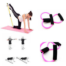 Pink Fitness Yoga 8 Shaped Pull Rope Tube Equipment Tool Gym Resistance Bands