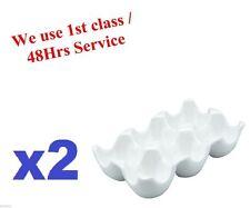 2x Huevo Bandeja tiene 6 Huevos de porcelana de calidad blanco cerámica Vinci