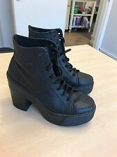 Top Shop Chunky Heeled Boots Size Uk 4 Black