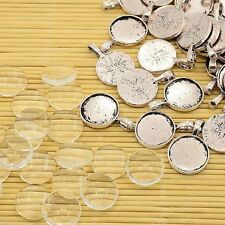 10sets DIY Antique Silver Tibetan Flat Round Glass Cabochon Pendants Settings