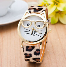 SKIN DESIGNER INSPIRED CUTE KITTY CAT FACE WITH EYE GLASSES FASHION WATCH