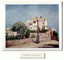 Ischia: Chiesa di San Pietro. Golfo di Napoli. Stampa Antica + Passepartout.1904