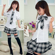 Sexy Japanese Japan School Girl Short sleeve Uniform Cosplay Costume Fancy Dress