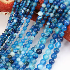 """1 String 15"""" Natural Color Stripe Agate Onyx Gems Round Loose Bead Stone Jewelry"""