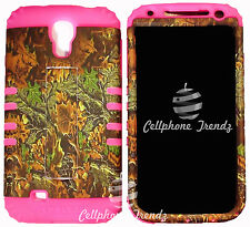 Camo Mix Leaves on Pink Hybrid Kickstand Cover Case Samsung Galaxy S4 SIV i9500
