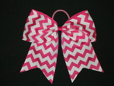 "NEW ""CHEVRON Hot Pink"" Cheer Bow Pony Tail 3"" Ribbon Girls Hair Cheerleading"