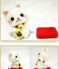 DIY Package Wool Felt Craft Needle Felting Animal Kit Luck Cat Keychain Material