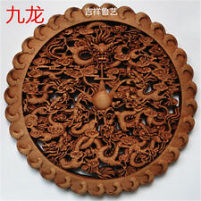 ART ! CHINESE HAND CARVED 9 DRAGON STATUE CAMPHOR WOOD PLATE WALL SCULPTURE