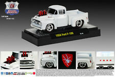 M2MACHINES 1:64 SCALE DIECAST METAL WHITE 1956 FORD F-100 TRUCK GROUND POUNDER