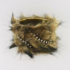 Furry Brown Bangle Bracelet with Clear Rhinestones