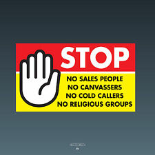 SKU74 stop cold calling porte autocollant no Canvassers callers groupes religieux signe