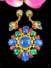 TRIFARI TM SAPPHIRE RUBY EMERALD CABOCHON JEWELS OF INDIA BROOCH EARRINGS SET