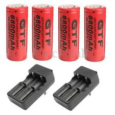 4PCS 26650 3.7V 8800mAh Rechargeable Li-ion Battery & 2x Charger For Flashlight