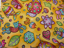 Children's Fabric 'Grandma's House' Cats, Fish, Teapot, Leaves, Fat Quarter