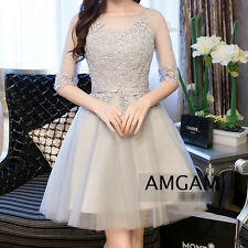 Silver Grey Tutu Embroidered Sheer See-through Skater Little Dress Cocktail