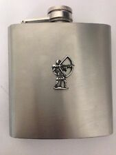 Robin Hood R214 English Pewter Emblem on a 6oz Stainless Steel Hip Flask