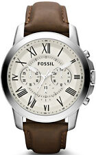Men's Fossil Grant Leather Band Chronograph Watch FS4735