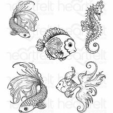 Under The Sea Fish, Unmounted Rubber Stamps Set HEARTFELT CREATIONS - New, 3739