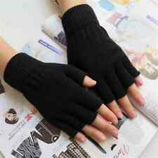 Hot Stretch Knitted Gloves Men Women Fingerless Winter Warmer Mittens Black PAIR