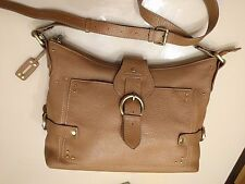 Memo's Saccs Light Brown Pebbled Leather Bag with 2 Exchangeable Handles