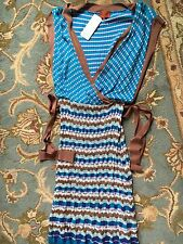 Missoni Striped Zigzag Knit Crochet Blue Brown Dress Orange Label Women's size 6