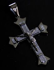 Men's Stainless Steel Black Large Religious JESUS CROSS Crucifix Charm Pendant