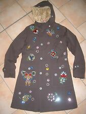 (J146) Nolita Pocket Girls Mantel Felljacke Parka Strassbesatz Stickerei gr.140