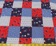 BTY BLUE RED PATRIOTIC PATCH WORK CHEATER QUILT PRINT COTTON FABRIC JOANN'S 44""