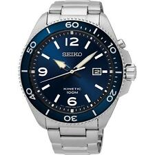 SEIKO MEN'S 44MM STEEL BRACELET & CASE KINETIC BLUE DIAL ANALOG WATCH SKA745