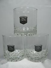 3 CUTTY SARK The Real McCoy Cocktail Bar Glasses - Pewter Clipper Ship emblem