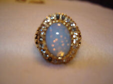 Vintage Opal Ladies Ring, Gold color surround and band Size 7, U.S. Seller