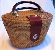 VINTAGE ASIAN OVAL BRASS & LEATHER TRIMMED TEA BASKET PURSE CONTAINER CARRY ALL