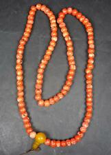 TIBETAN REAL CORAL BEAD MALA NECKLACE. PRAYER BEADS BLESSED from NEPAL