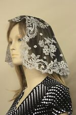 Silver Black Princess heart Spanish veils and mantilla chapel lace Latin