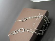 SILPADA Necklace Hammered .925 Sterling Silver Links 3 Tiered Chain n1720 rv$139