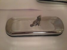C18 Wolf  Motif On a Chrome Glasses Case